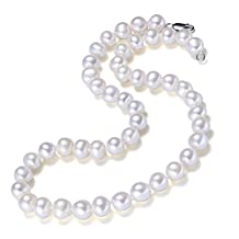 Chpel 7-8mm AA Grade Near Round Freshwater Cultured Pearl Necklace 18''