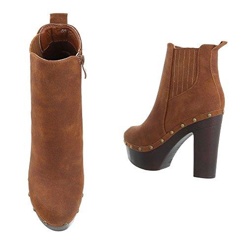 Ital-Design High Heel Stiefeletten Damenschuhe Schlupfstiefel Pump Stiefeletten Camel