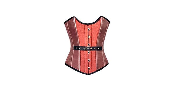 Women\u2019s Clothing Orange Pink Silk Front Belt /& Busk Opening Steampunk Bustier Waist Training Overbust Corset Top