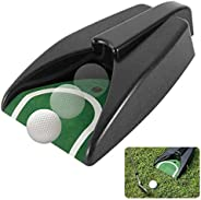 MEW Automatic Golf Putting Cup, Golf Aid Training Ball Return Device with Green Slope Mat, for Indoor Outdoor