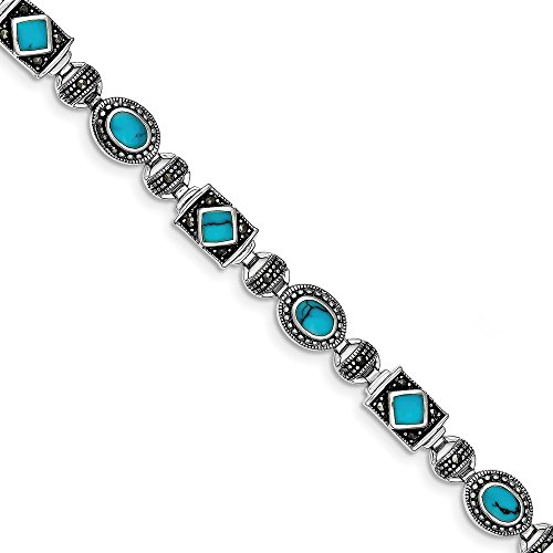 925 Sterling Silver Synthetic Blue Turquoise Marcasite Bracelet 7 Inch Gemstone Fancy Fine Jewelry Gifts For Women For Her