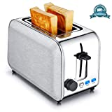 Toasters 2 Slice Best Rated Wide Slots Bread Toaster Stainless Steel Bagel Toaster With Cancel Defrost Reheat Settings, Quickly Toasts Muffins, Waffles, Bagels, Bread, Silver by CUSINAID