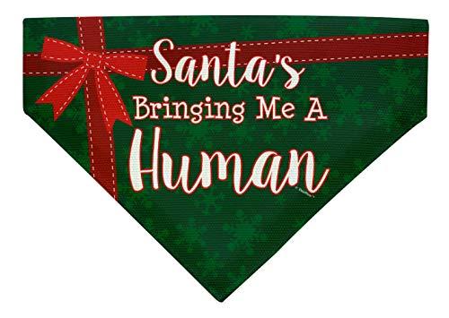 ThisWear Dog Pregnancy Announcement Santa's Bringing Me a Human Large Dog Bandana Scarf Dogs Bib Green