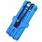 ANTIMAX Ultra Strong Alloy Steel 8 Joints Folding Bike Lock Bicycle Lock with 3 Keys Anti Theft Blue