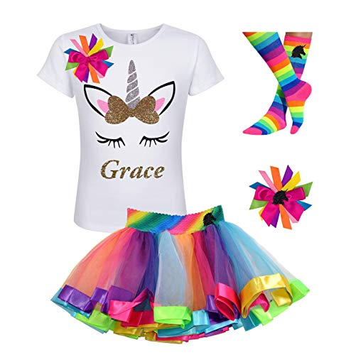 Birthday Girl Unicorn Shirt Gold Rainbow Outfit Eyelashes Kids Party Gift Set ()