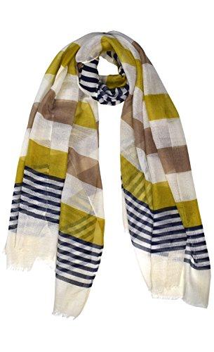 Peach Couture Sheer Lightweight Sassy Stripe Eyelash Fringe Scarf Shawl Wrap Beige (Eyelash Scarf)