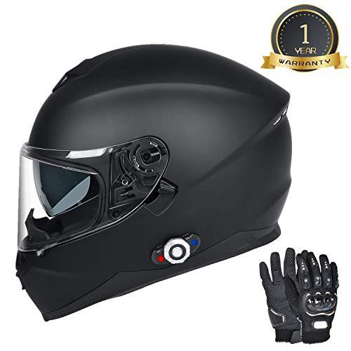 Bluetooth Motorcycle Helmet, FreedConn DOT Full Face Motorcycle Helmet with Bluetooth - 500M, 2-3 Riders Pair, FM/ MP3(Matte Black, L)
