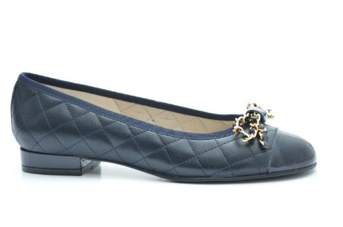 Quilted Navy leather ballerina Leather Ladies and cap 10 with shoes gold Patent EYE G toe trim Z4xSS1q5