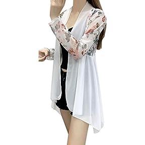 Women Shawl,kaifongfu Chiffon Cardigan Long Sleeve Irregular Top Blouse Beach Shawl Coat