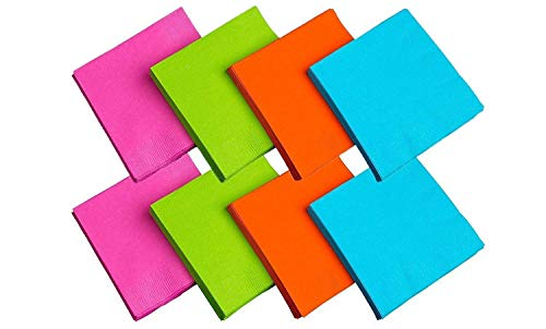 Party Essentials 2-Ply Paper Cocktail Beverage Napkins, Assorted Neon Brights, 48-Count (Cocktail/Beverage - 2 Pack) -