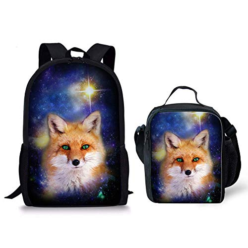 HUGS IDEA 3D Animal fox Backpack and Lunch Box Kit 2 Pcs Elementary Middle School Book Bag (Fox Backpack Blue)