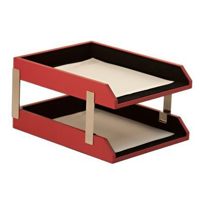 The Dacasso Double Leather Letter Trays with Stacking Posts by (Stacking Posts)