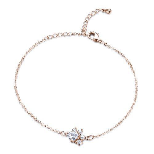 (Viola Tricolor Cute Cat Paw Rose Gold Bangle Bracelets Clear Cubic Zirconia Crystal Charm Lobster Clasp Bracelet Rose Plated Chain for Women Teen Girls Friendship Bracelets)