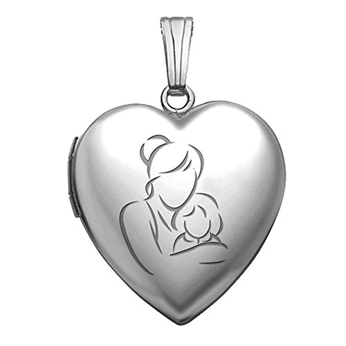 PicturesOnGold.com Sterling Silver Mom and Daughter Heart Locket Pendant Necklace 3/4 Inch X 3/4 Inch - Includes 18 inch Cable Chain