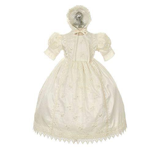 - Rain Kids Ivory Silk Lace Bonnet Baptism Dress Baby Girl 12M