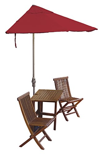 Blue Star Group Terrace Mates Villa Standard Table Set w/ 9'-Wide OFF-THE-WALL BRELLA - Red Olefin Canopy (Wall Red Olefin Umbrella)