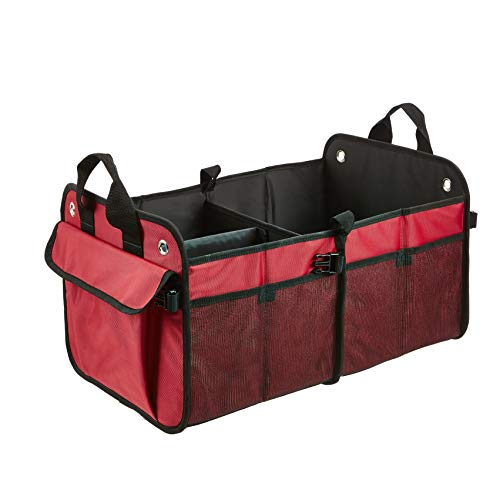 Amazon Basics Foldable Cargo Trunk Organizer for Cars, SUVs, and Trucks – Red