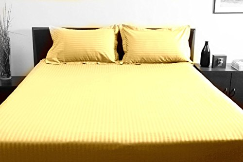 """UPC 889318380741, New Luxurious 100% Egyptian Cotton 600TC Twin XL Size 1PC Fitted Sheet 18"""" Deep Pocket Stripe Gold"""