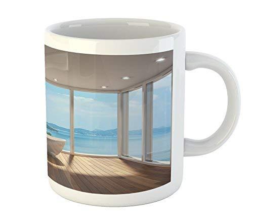 Bathroom Mug Minimalist Design Bathtub with Relaxing Scenery of Islands Print Printed Ceramic Coffee Mug Water Tea Drinks ()