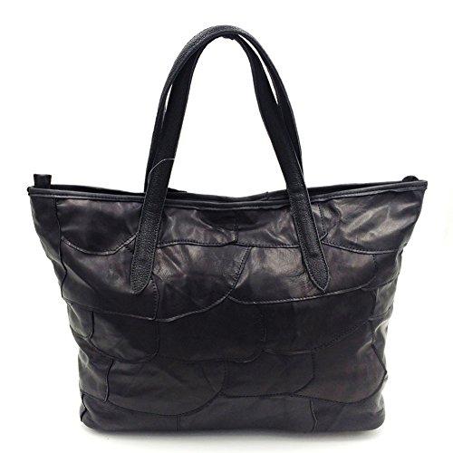 Moonsister Damen Große Weich Echts Leder Umhängetasche, Stiching Bunt Blume Freizeit Käufer Schultertasche Tasche Handtasche
