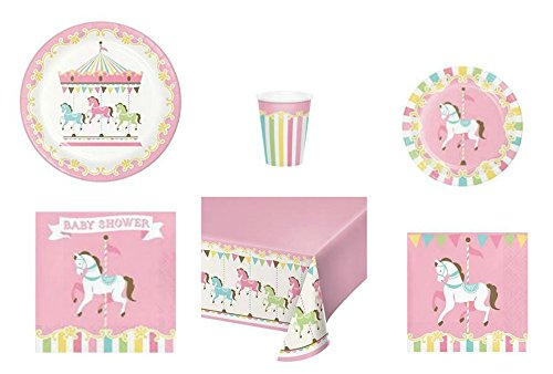 Disposable Plates, Napkins, Cups, Tablecloth Carousel Themed Baby Shower Party Supplies, 6-Piece Bundle  Baby Carousel