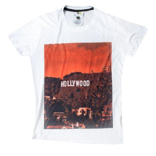 Imprimé Blanc shirt Accessoryo Au Petit Hommes Crépuscule Coton Mix Viscose Panneau Hollywood Des T 78wRn4Oq8