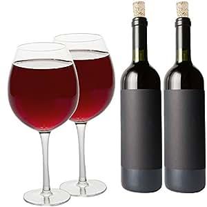 Oversized Extra Large Giant Wine Glass -33.5 oz - Holds a full bottle of wine! (2 Glasses)