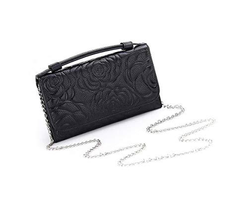 Compras De Casual Ir Cuero Moda Mujer Flores Bolso Hangbag Black Del Mensajero xSYZ0XTq