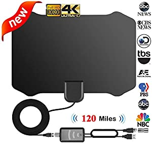 Indoor TV Antenna, 120 Miles Digital HDTV Amplified Antennas Freeview 4K 1080P HD VHF UHF for Local Channels with Signal Amplifier Support All Television-13ft Coax Cable
