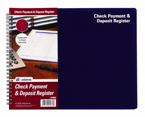 Adams Check Payment and Deposit Register, , 8.5 x 11 Inches, White (AFR60)