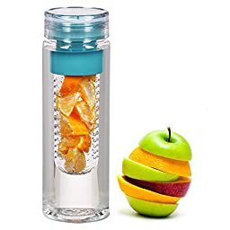 Infuser Water Bottle 28oz - Fruit Infusion Water Bottle and Sport Travel Infuser - FREE Fruit Infuser Recipe Ebook Download Included - Sports Camping Water Bottle BPA Free *SHATTERPROOF* Polycarbonate - Eco Friendly Plastic Drinking Water Bottle - Citrus