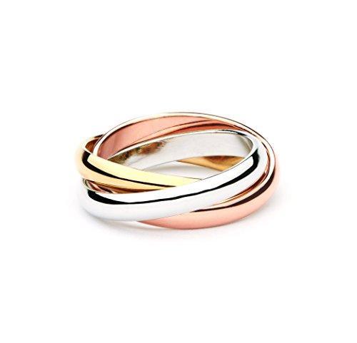 Trinity Tri-Coloured Interlocking Classic Ring,8