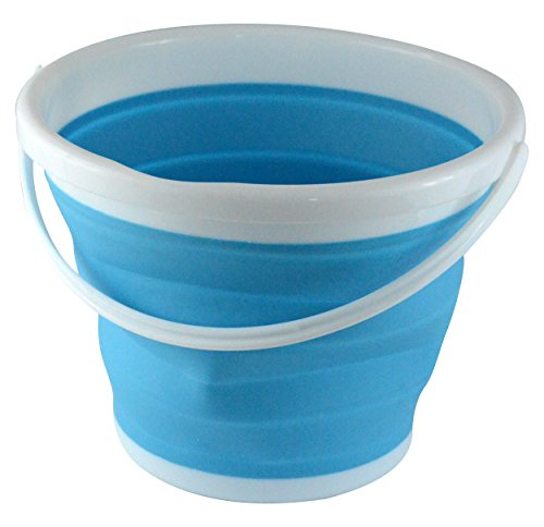 Collapsible Pail - Southern Homewares Silicone Collapsible 2.65 Gallon Bucket, Blue.
