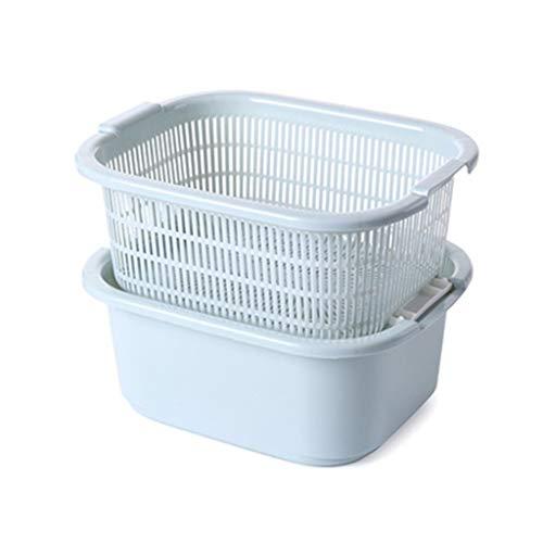 - Kitchen Drain Basket, Double Fruit Bowl (Color : Blue)