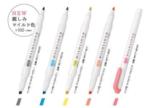 Zebra Mildliner Soft Color Double-Sided Highlighter Pens 25 Full Color Set(Standard 15 Color + New 10 Color) with Original Vinyl Pen Case by ZEBRA (Image #7)