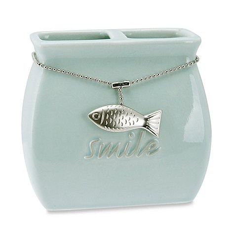 (Coastal Charms Toothbrush Holder A Gorgeous Crackled Glaze Finish in Sea Blue and A Fish Charm)