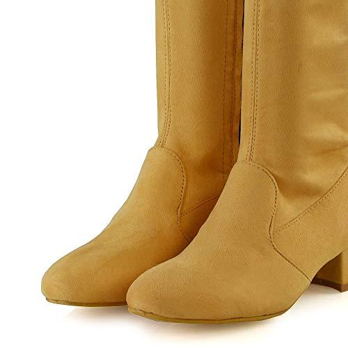 Basse Essex Talon Suede 8 Faux Mi Veau Genou De Chunky Jambe Extensible Femme Taille Chaussure grosse Bottes Moutarde 3 Glam Hauteur Bloc Chaussette yzaZ4qf