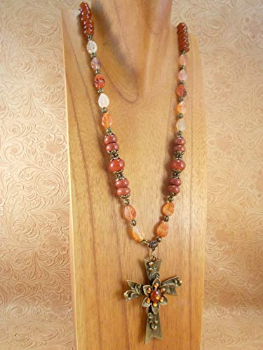 Western Cowgirl Necklace Set - Orange Agate Leaves and Carnelian - Cross Pendant - Long