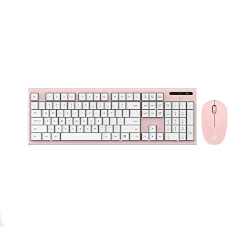 Wireless Keyboard and Mouse Combo, Attoe 2.4GHz Silent Click Keyboard and Mouse Set - Waterproof Slim Cute Combo for Laptop, Computer,MAC OS (Pink)