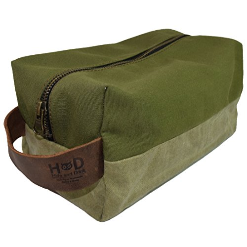 Waterproof Waxed Canvas Large All Purpose Rectangle Dopp Kit Utility Bag With Interior Lining Handmade by Hide & Drink