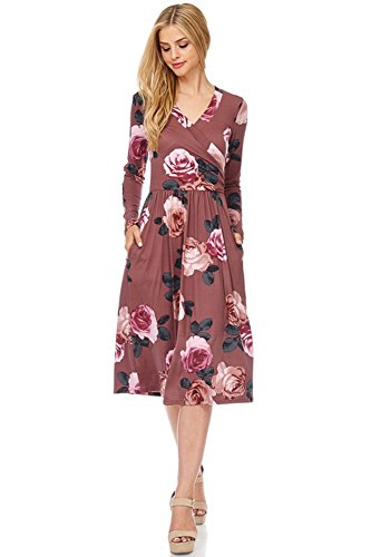 NeeSee's Dresses Floral Midi Dress (Mauve Large Roses, X-Large) Floral Dress