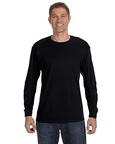 Hanes TAGLESS 6.1 Long Sleeve T-Shirt Black, Medium