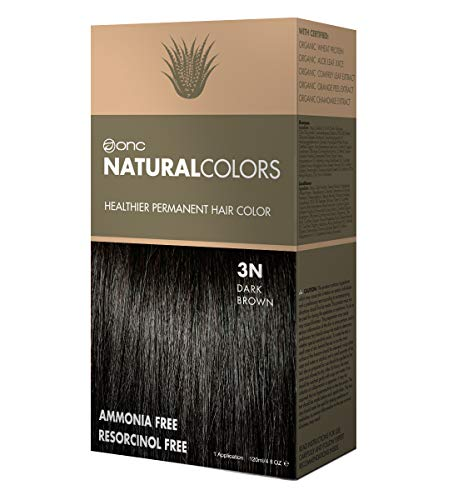 (ONC NATURALCOLORS 3N Natural Dark Brown Healthier Permanent Hair Color Dye 4 fl. oz. (120 mL) with Certified Organic Ingredients, Ammonia-free, Resorcinol-free, Paraben-free, Low pH, Salon Quality, Ea)