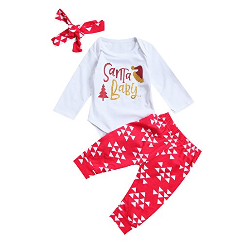 Newborn Baby Girls SanTa Baby Top Snowflake Print Red Legging With Headband Christmas Holiday Bodysuit (0-6 Months)