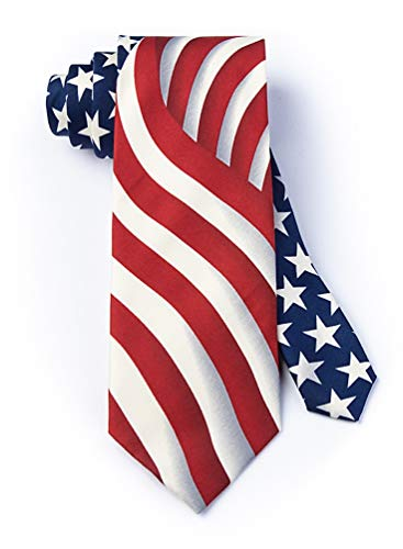 Men's 100% Microfiber Long May She Wave America 4th of July Independence Patriotic Novelty Tie Necktie