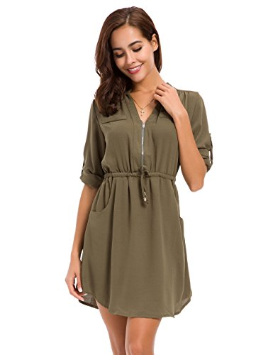 MOQUEEN Womens Casual Chiffon Shirt Dress Long Sleeve Drawstring Roll-up Blouses Front Zipper Pocket