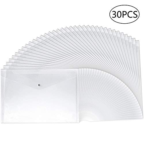 30pcs Plastic Envelopes,Clear Poly Envelope Waterproof File Folder with Snap Button, US Letter/A4 Size Button Closure Poly Envelope