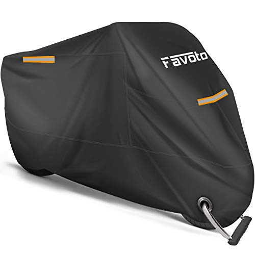 """Favoto Motorcycle Cover All Season Universal Weather Premium Quality Waterproof Sun Outdoor Protection Durable Night Reflective with Lock-Holes & Storage Bag Fits up to 96.5"""" Motorcycles Vehicle Cover"""