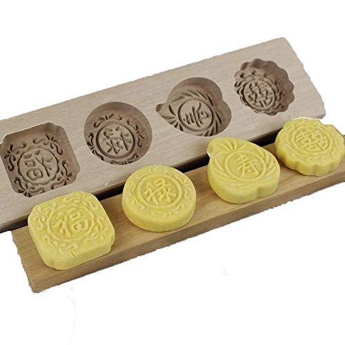 Mooncake Mold Bigear Chinese Traditional Mini Wooden Mid-autumn Festival Mooncake Mold Mooncake Cups Handmade Soap Molds Biscuit Chocolate Ice Cake candy (Fu Lu Shou Xi)