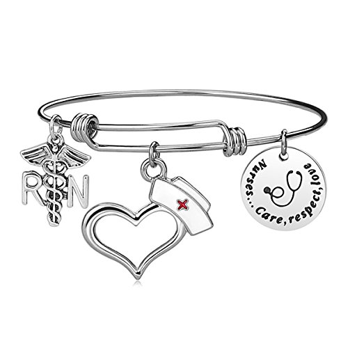Nurses Day Gifts (iJuqi Nurse Bangle Bracelet Gifts - Women Girl Expendable Caduceus Angle Charm Bracelet Nursing Jewelry Nurs Bracelet Christmas Birthday Graduation Gift, Stainless Steel (Nurse)